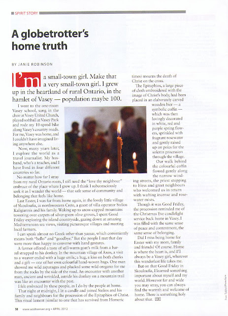Spirit Story April 2012 United Church Observer. Story by Janie Robinson, Travel Writer