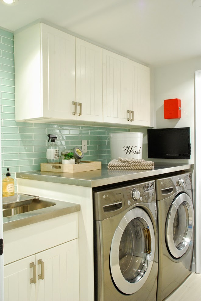 Rambling Renovators | white black laundry room galley