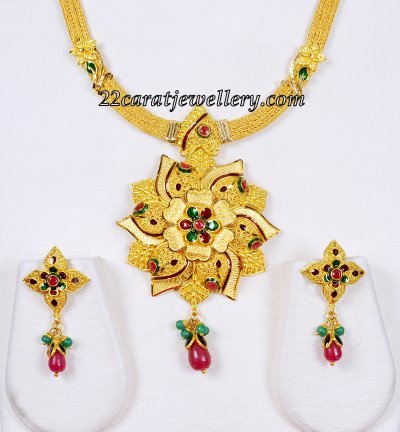 finish buy chintamanis jewellery set necklace antique gold necklaces pearl img enamel in designs online