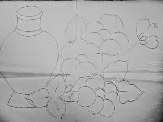 desenho vaso com flores para pintar