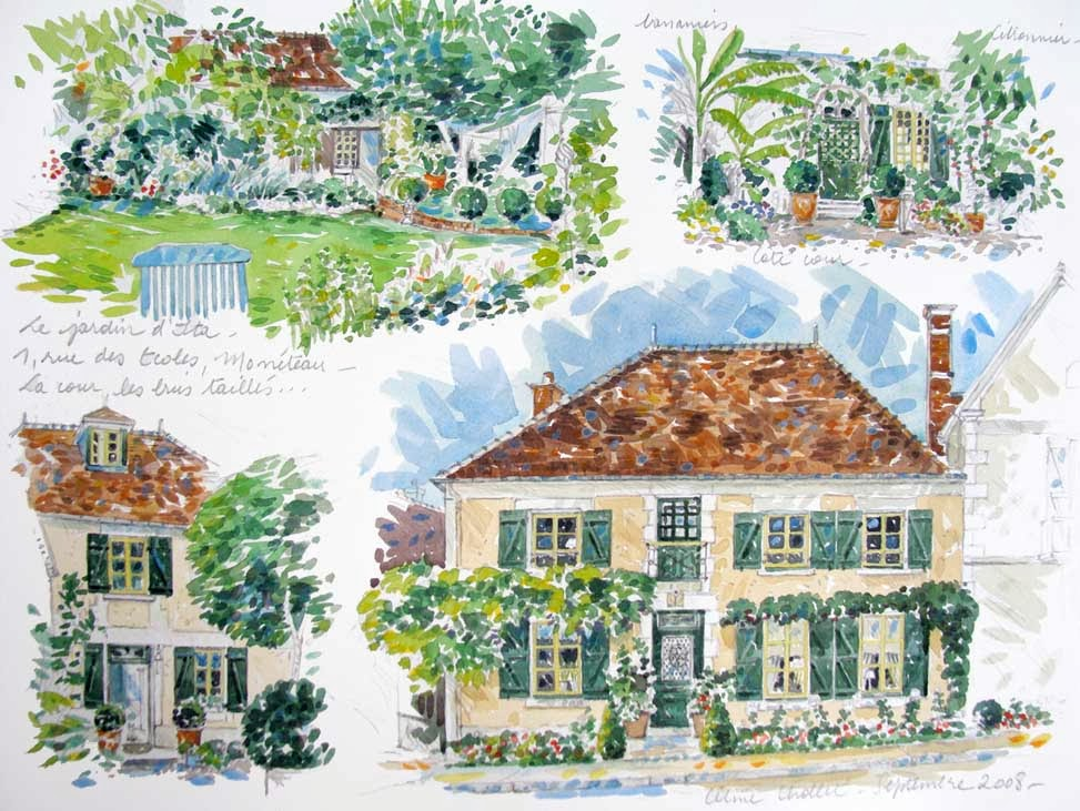 C line chollet aquarelles une aquarelle pour no l 2013 for Aquarelle maison