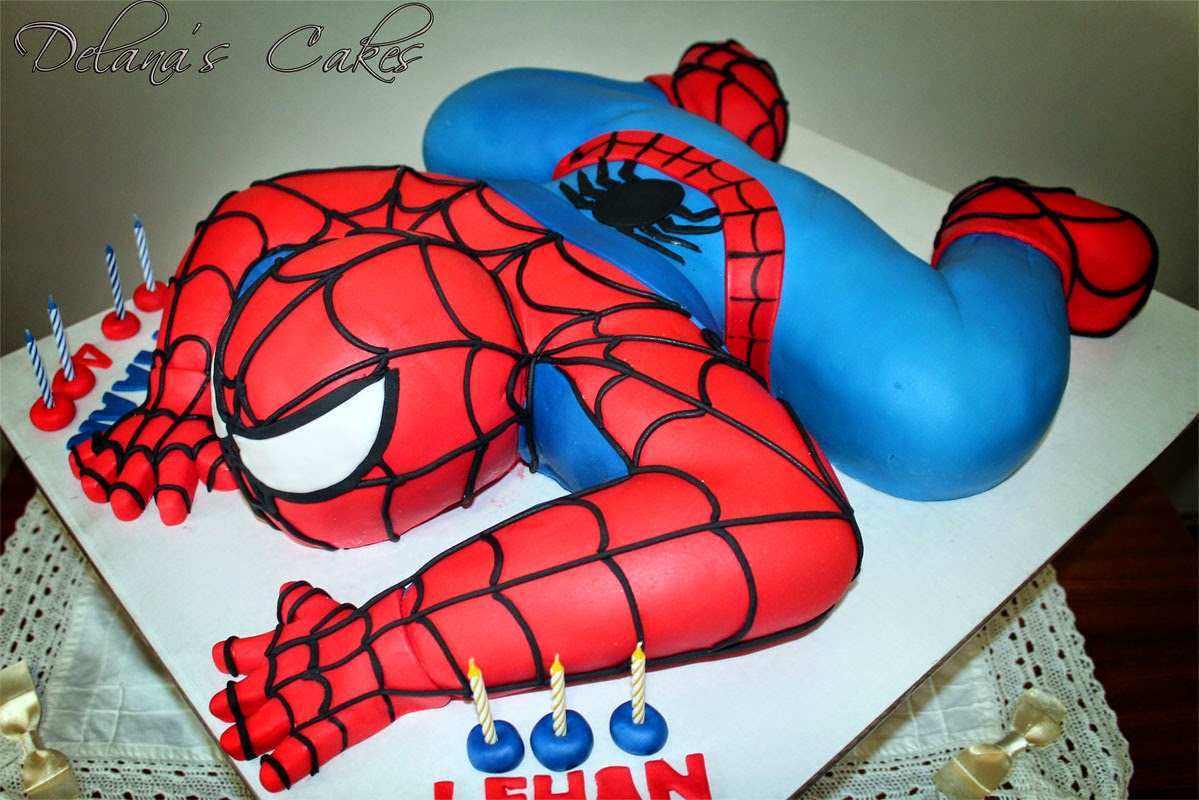 Delana 39 s cakes 3d spiderman cake for Spiderman template for cake