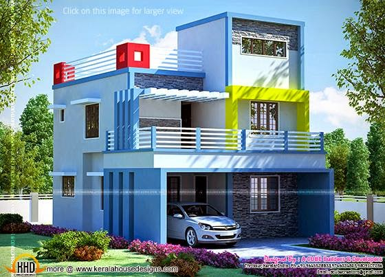 1250 sq feet house elevation and plan for 1250 square feet house
