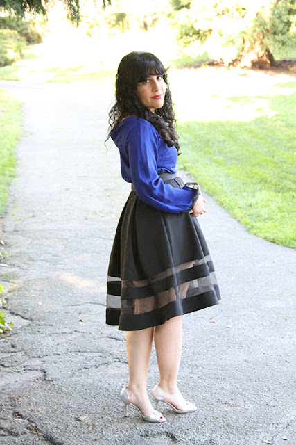 Blue DVF Top and Express Black Midi Skirt