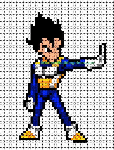Favori Minecraft Pixel Art Templates: Vegeta (Dragon ball z) PJ36