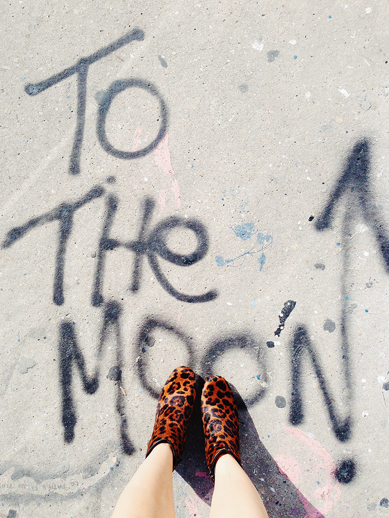 To the Moon by Gazoo, sidewalk graffiti, from where i stand, leopard print pony hair booties, Miami Art Basel 2014, Wynwood