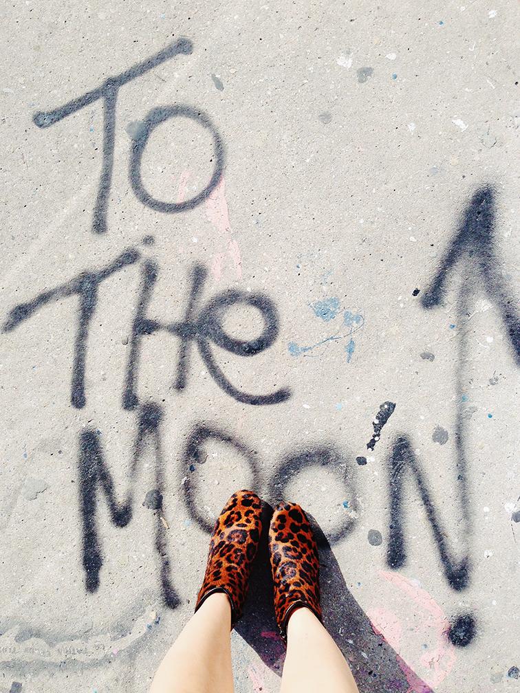 To the Moon by Gazoo, sidewalk graffiti, from where i stand, leopard print pony hair booties, Miami Art Basel 2014, Wynwood