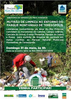 Mutirão de limpeza no entorno do Parque Natural Montanhas de Teresópolis