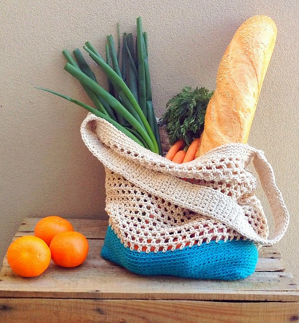 free crochet pattern two tone mesh market bag
