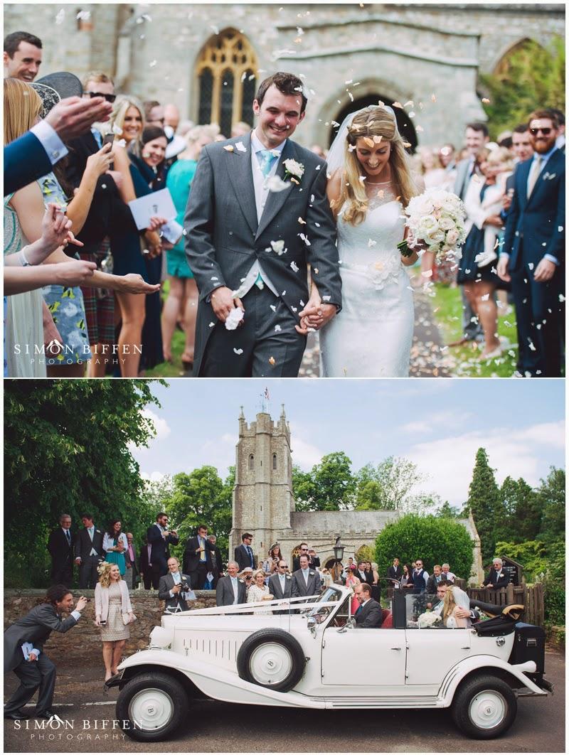Wedding confetti St Giles Church Bradford-on-Tone