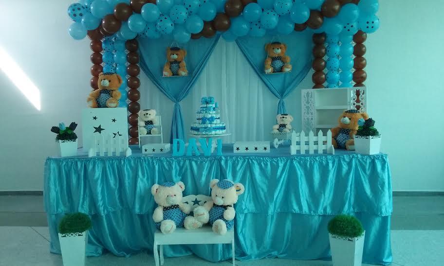 Chá de Bebê dos Ursos Azul com Marrom