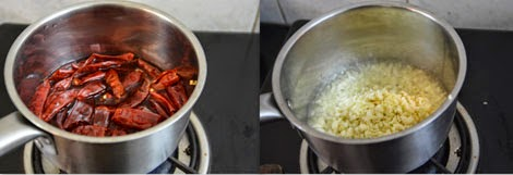 preparing homemade schezwan chutney