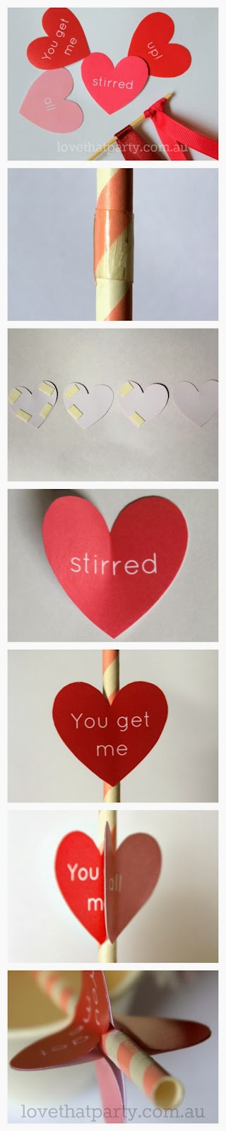 "Free Printable Valentine's Day Drink Stirrer: ""You get me all stirred up!"" How to tutorial by Love That Party. www.lovethatparty.com.au"