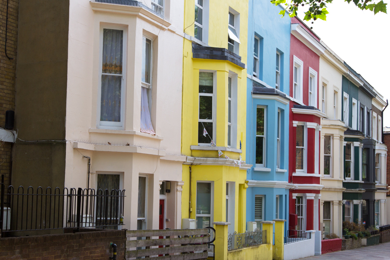 Colorful houses in Notting Hill