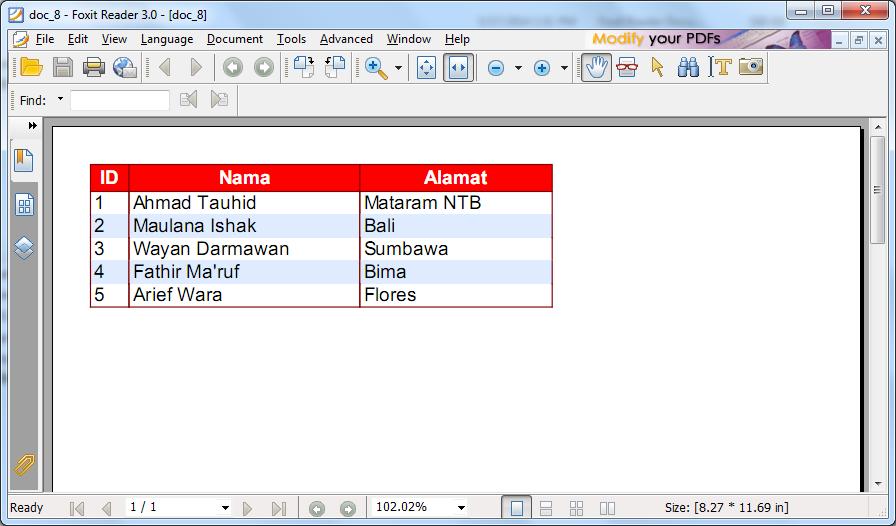 Membuat Laporan dari Database dengan FPDF di PHP