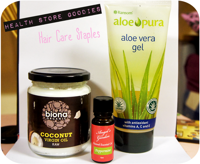 Health Store Beauty and Hair Staples- Aloe Vera Gel, Cold Pressed Coconut Oil & Peppermint Oil