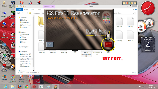 Download the Fifa11 i68Regenerator 1.5 and extract it to yours installed FI