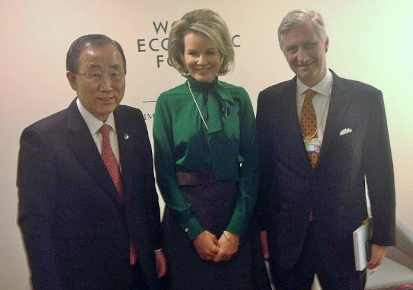UN secretary-general Ban Ki-Moon - Queen Mathilde and King Philippe of Belgium at the World Economic Forum 2016 in Davos, Switzerland.
