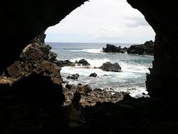 Inside Ana Kai Tangata Ceremonial Cave, Hanga Roa, Easter Island