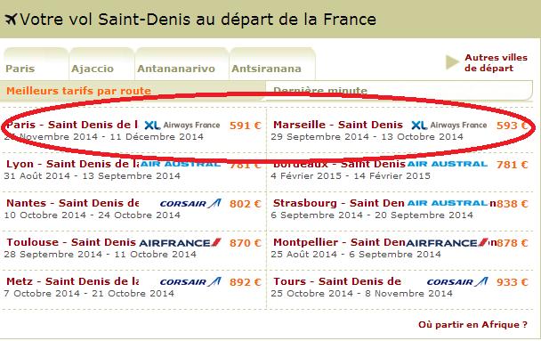 Promo Voyages Réunion, billets à moins de 600 euros.
