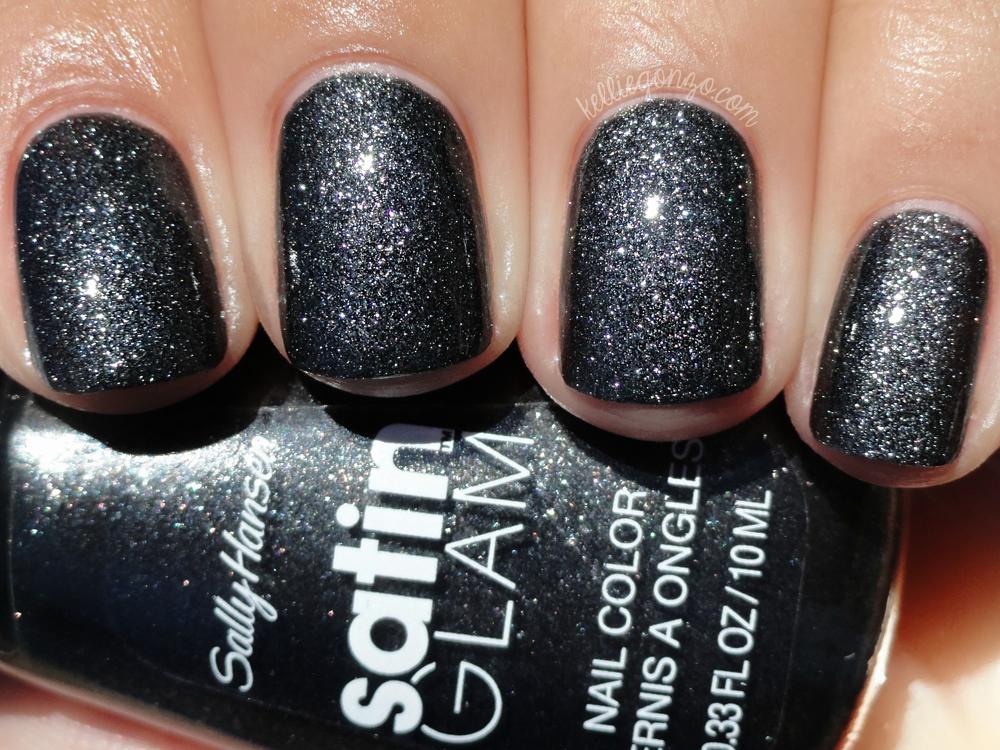 Sally Hansen Satin Glam - Silk Onyx with top coat | kelliegonzo