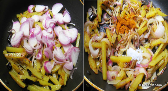 Add Onion And Saute Until It Becomes Transparent Add Salt And Turmeric Powder Mix Well