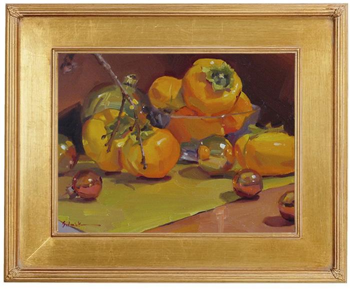 "Sedwick Studio Purple Bowl Of Plums Fruit Bowl Still: Sedwick Studio: ""Persimmon And Christmas Ornaments"" Not My"