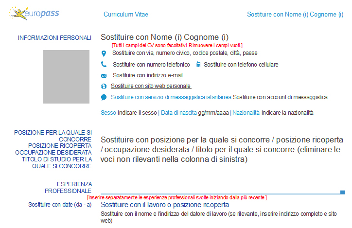Curriculum Vitae: Il Nuovo Modello Cv Europass (2013)