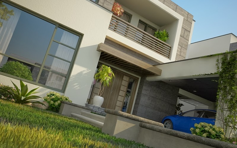 ... Luxury House in Lahore Design Wing 3D Front Elevation Pakistan