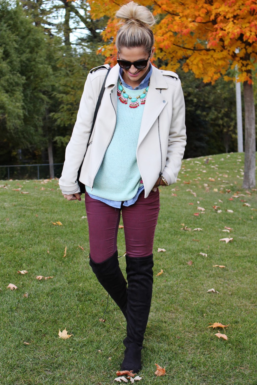 bijuleni-mint sweater, burgundy jeans,knee high boots