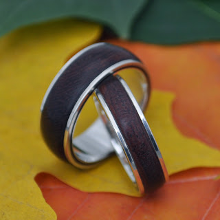 Tierra Guapinol Wedding Band Set, handmade ecofriendly wood rings by Naturaleza Organic Jewelry