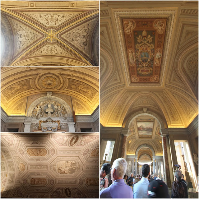 The arts painting with rich gold colour on the ceilings in Musei Vaticani (Vatican Museum) in Rome, Italy