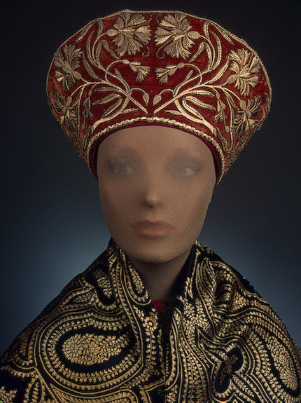 Traditional Russian head wear made from velvet and decorated with metal thread embroidery