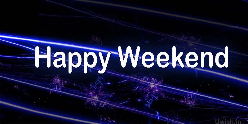 Happy Weekend greetings and wishes with neon lights effect.
