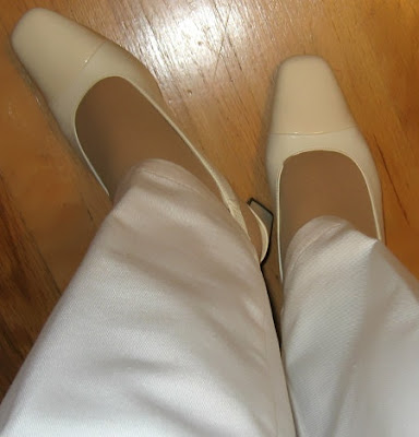 winter white two toned shoes