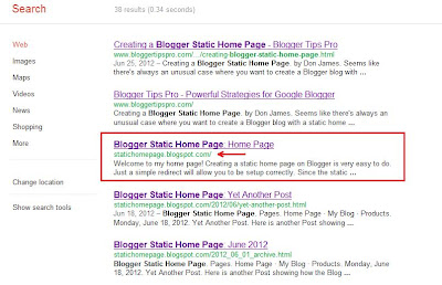 Blogger static home page indexed in Google