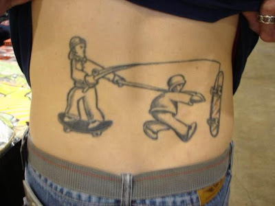 Skate Fishing Tattoo on Back