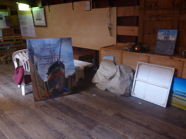 "Marine art - plein air oil painting of  ""Painters with 'James Craig ' in Garden Island dry dock"" by Jane Bennett"