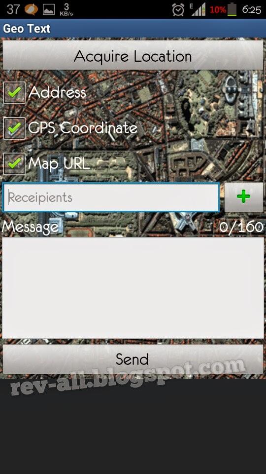 Tampilan utam aplikasi Geo Text - aplikasi android untuk mengirimkan lokasi GPS perangkat android(rev-all.blogspot.com