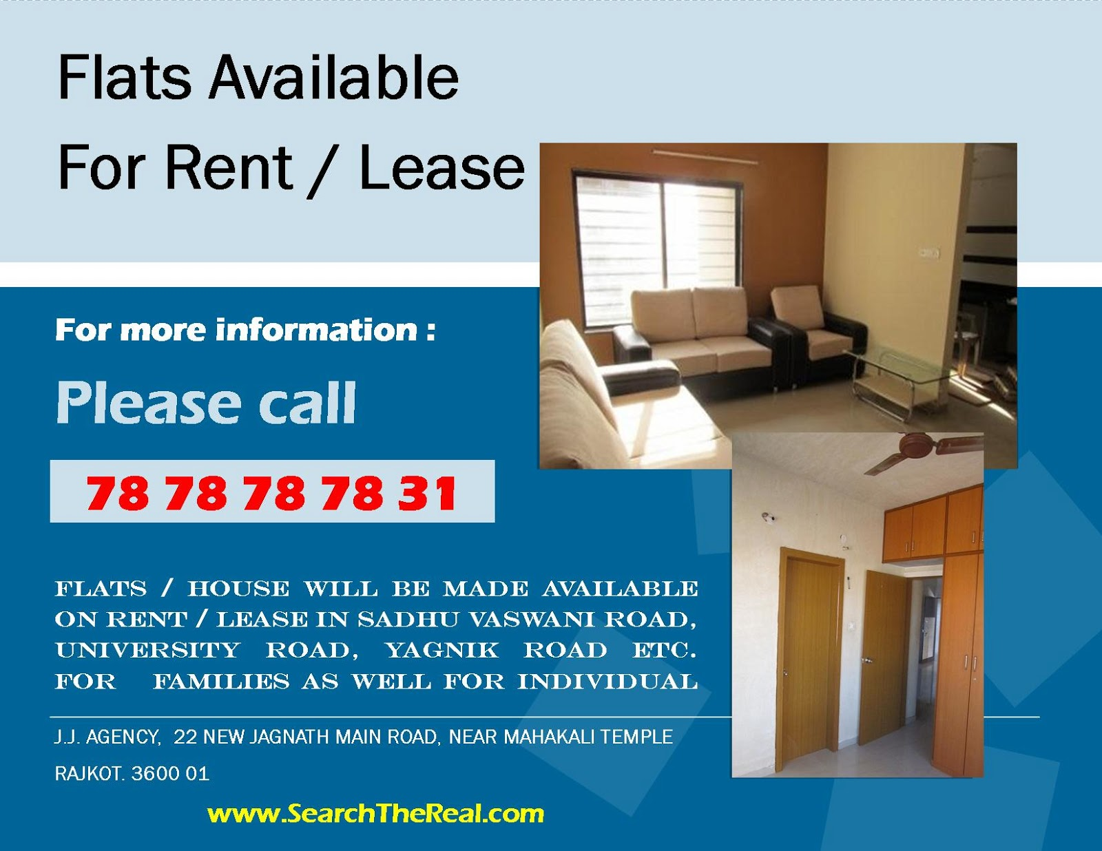 flat available on rent in rajkot