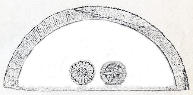Końskie, kościół p.w. św. Mikołaja - romański tympanon. Rozeta pełna występowałaby tu jako skrót symboliczny bujnej roślinności Edenu, podczas gdy rozetę zbliżoną do koła o luźno rozstawionych szprychach należy uważać za symbol cheruba strzegącego wrót raju. Fragment rysunku Mariana Chochowskiego.