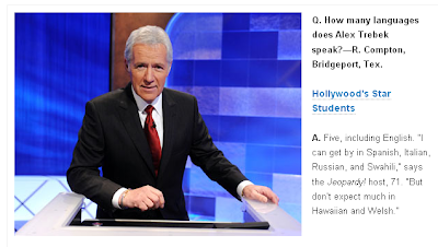Parade pic of Trebek listing Italian, Spanish, Russian, and Swahili as languages he can 'get by in'