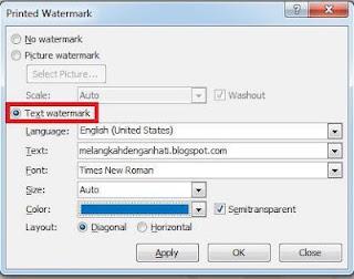 Membuat watermark sendiri sesuai selera di Ms.Word 2007