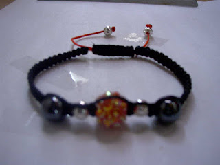 Pulsera Shamballa 10mm Rhinestone rojo con hematitas beads