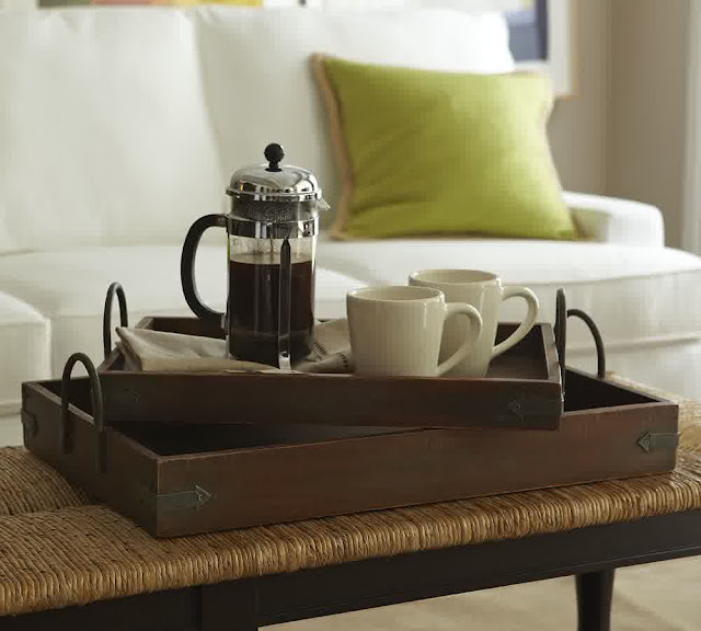 square wooden coffee table trays with two white glass cup and glass coffee bouilloire