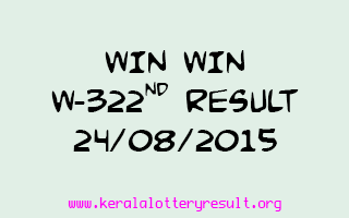 WIN WIN W 322 Lottery Result 24-8-2015