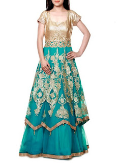 Zeeia Sea Green Net Foliage Embroidered Gown | Zeeia Teal Net Layered Anarkali Gown