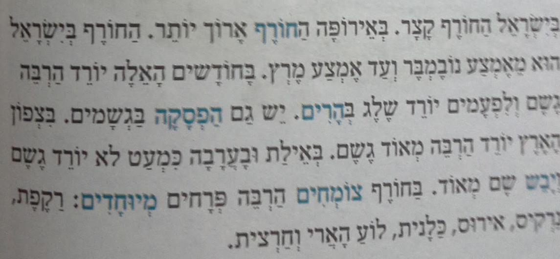 inverno primavera verao em hebraico