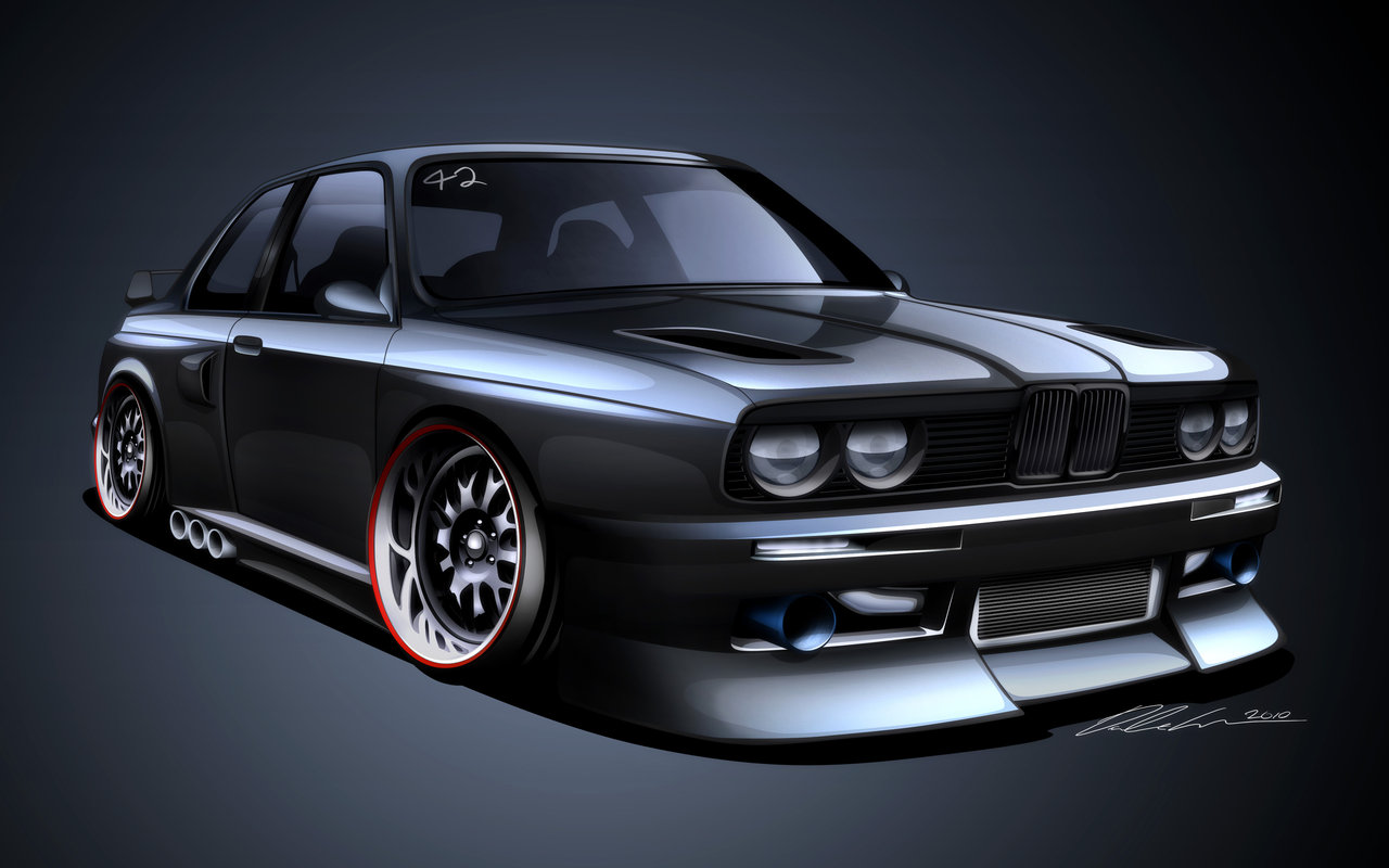 The 325is E30 Cartoon Dramatized Profile Lines