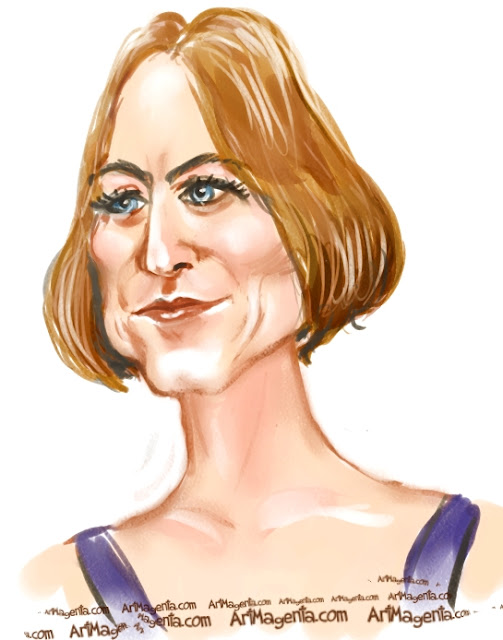 Jodie Foster caricature cartoon. Portrait drawing by caricaturist Artmagenta.